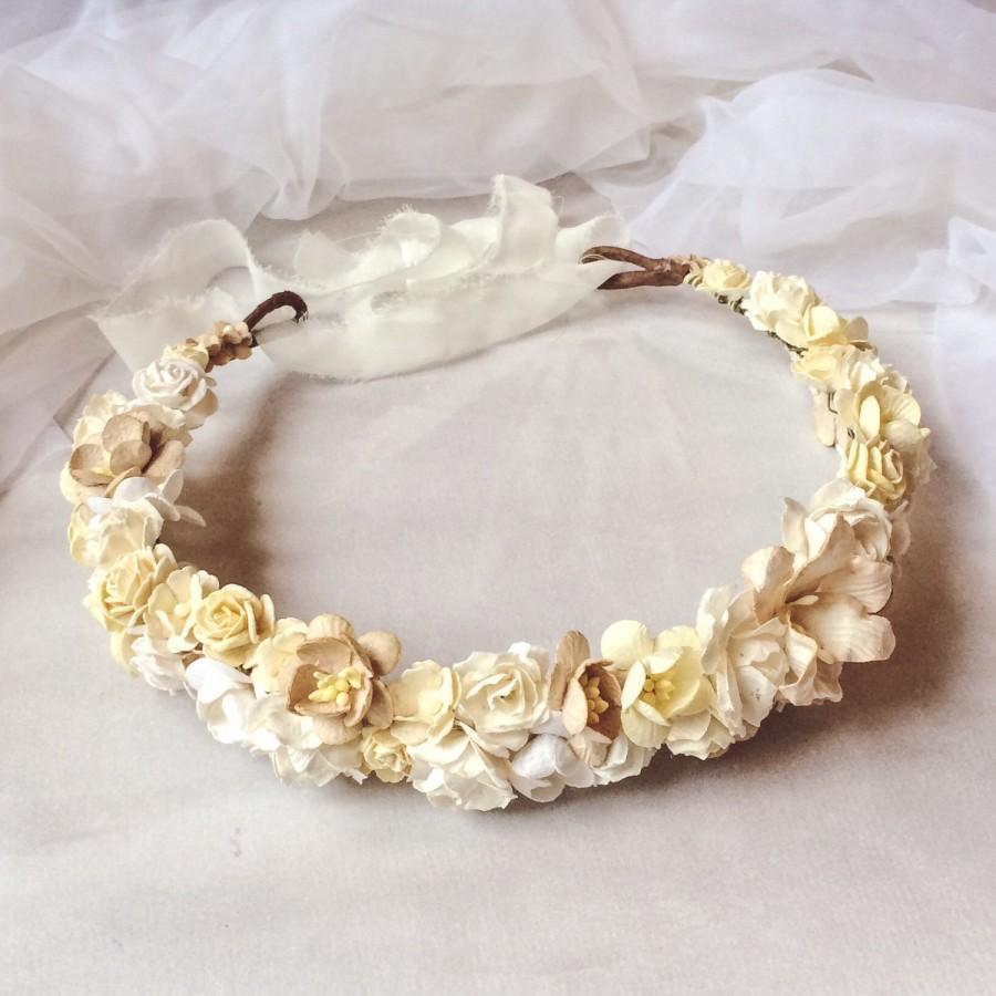 Wedding - Bridal Flower Crown, Flower Girl Crown, Woodland Headdress, Boho Wedding Headpiece, Bridal Head Wreath, Flower Crown - Boho Wedding-Beige