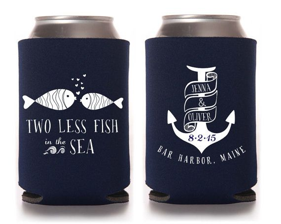 Custom Wedding Koozie Nautical Wedding Two Less Fish