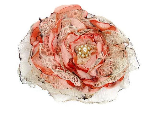 Свадьба - Peach flower accessory, Bridal hair flower, Wedding hair piece