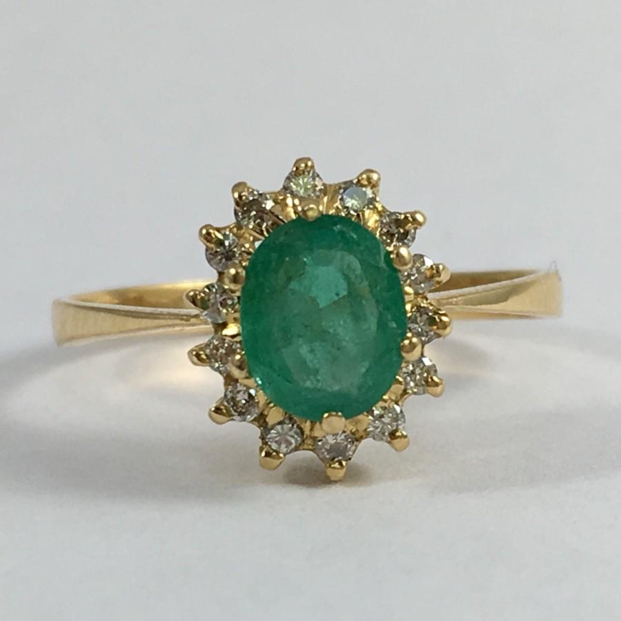 antique emerald and halo ring 18k yellow gold