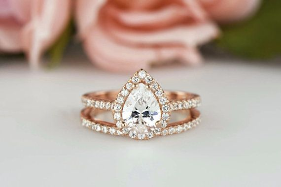 Wedding - 1.5 Ctw Classic Halo Engagement Ring, Pear Wedding Set, Man Made Diamond Simulants, Half Eternity Ring, Sterling Silver, Rose Gold Plated