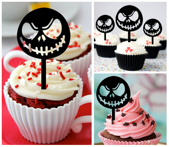 ca425 new arrival 10 pcsdecorations cupcake topper nightmare before christmas wedding props partyfood drinkfunshopbirthday