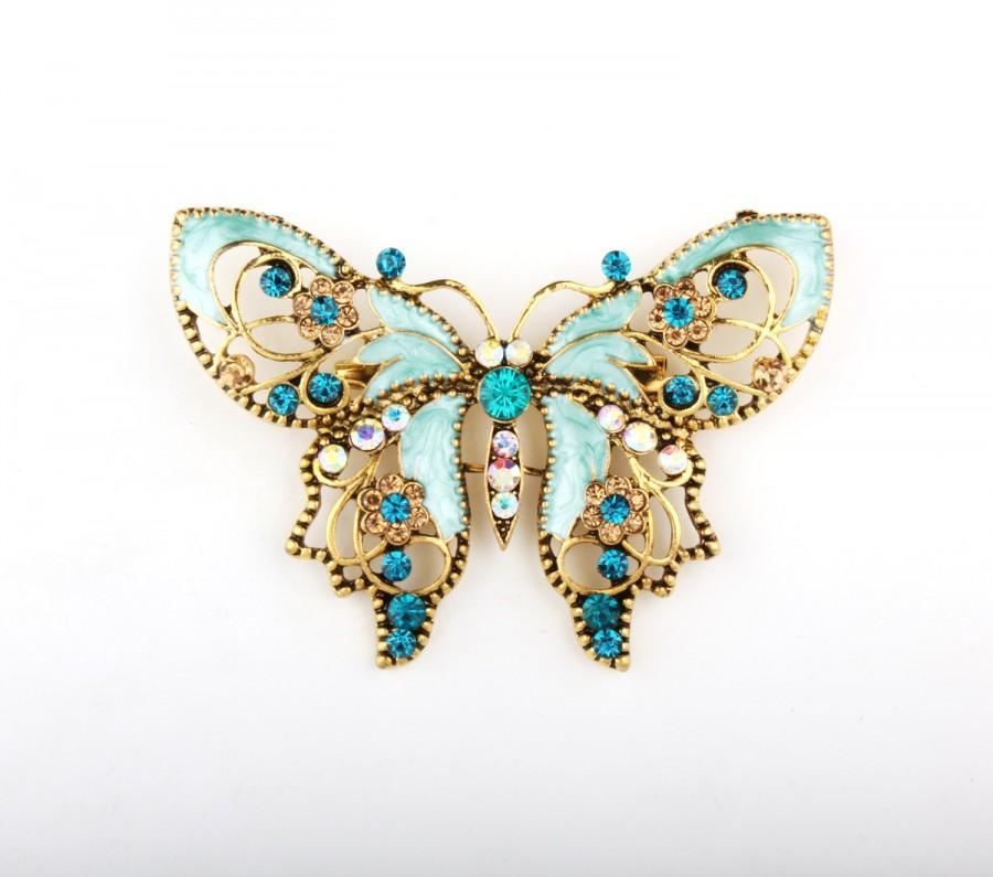 Wedding - Turquoise Tiffany Blue Butterfly Pin Brooch, DIY Bridal Brooch Bouquet Lot, Bridesmaid Gift, Wedding Accessory