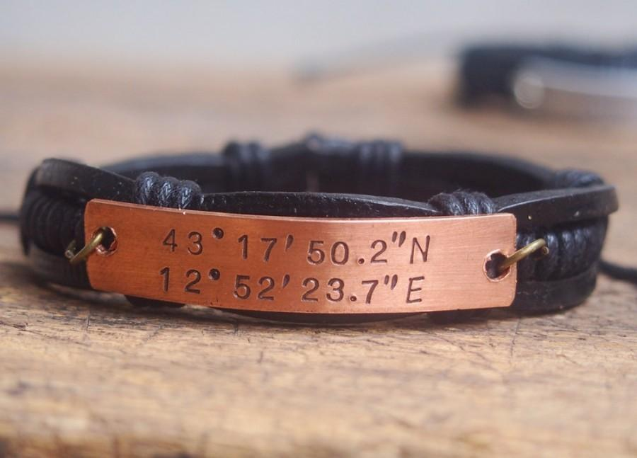 Personalized Men S Bracelet Engraved Laude Longitude Coordinates Customized Gps Boyfriend