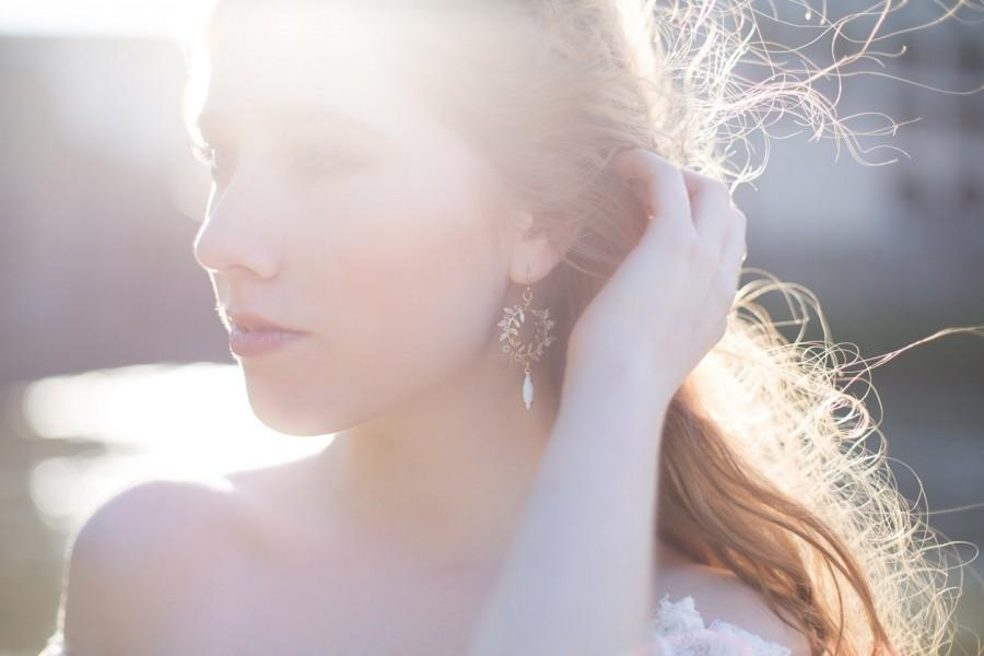 Wedding - Laurel Wreath Earrings - Hand Wired Swarovski Crystal and leafy brass with white drops