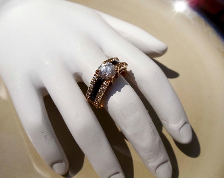 Wedding - Vintage gold onyx diamond ring