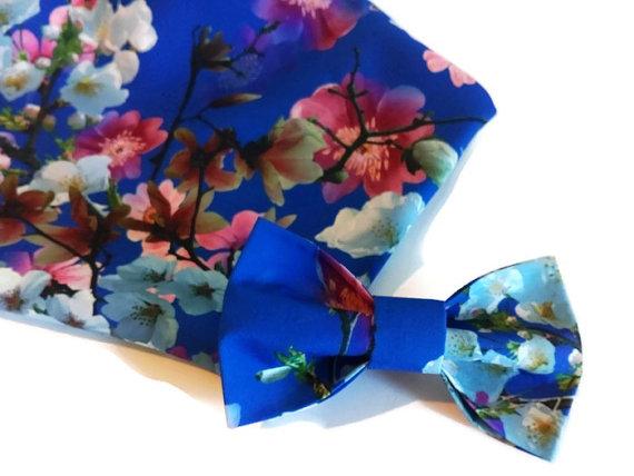 Düğün - floral bow tie wedding groom cobalt blue blossom pink sakura necktie tie bride dress bowtie gift for him mens bowties fathetfluere bleu пю18