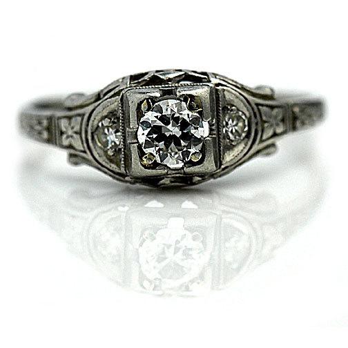 Свадьба - Vintage Engagement Ring .36ctw Old European Cut Diamond Platinum Solitaire Vintage Engagement Ring Filigree Engagement Ring Size 7.25!