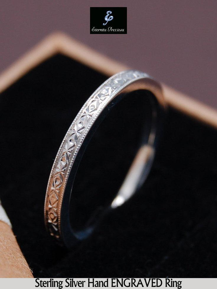 Свадьба - Hand engraved Silver Ring, Italian Pattern Engraved Ring, Engagement Ring, Promise Ring, Stackable Ring, Stacking Ring, Anniversary Ring
