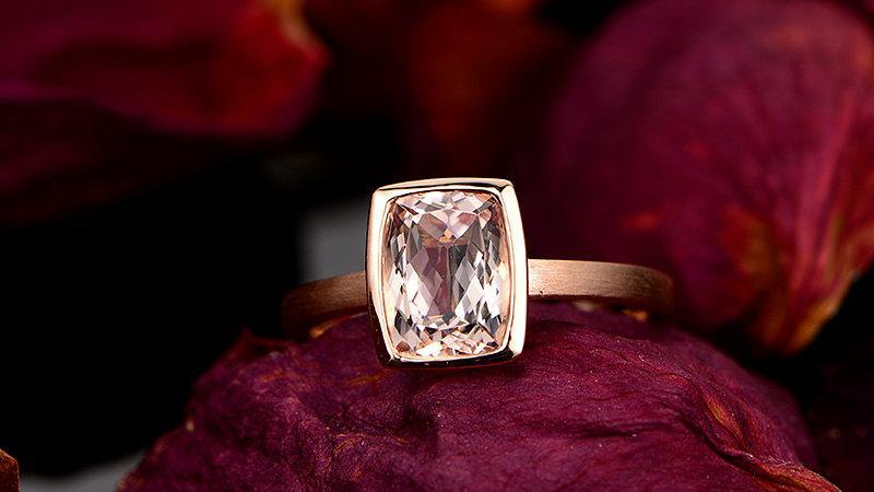 Свадьба - Rose Gold Morganite Ring Cushion Cut Morganite Rings Morganite Engagement Ring Bezel Ring, 14k Brushed Rose Gold