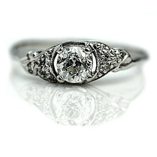 Свадьба - Antique Old European Cut Diamond Engagement Ring .52 ctw Art Deco Engagement Ring Filigree Diamond Ring!