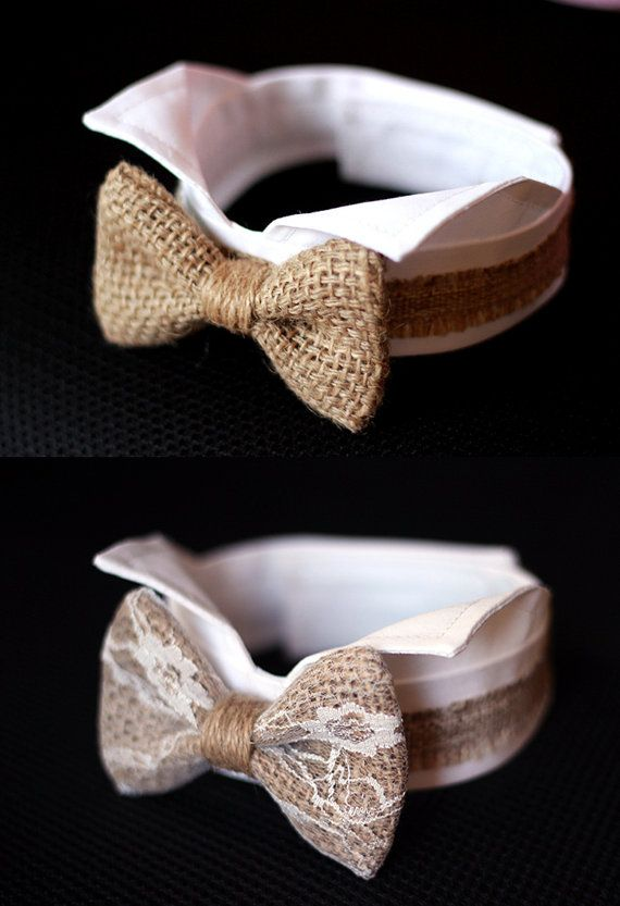 Hochzeit - Burlap Dog Bow Tie Collar, Burlap Wedding Dog Tuxedo Collar, Burlap Bow Tie For Dog Wedding, Burlap Dog Bow Tie, Rustic Wedding, Woodland