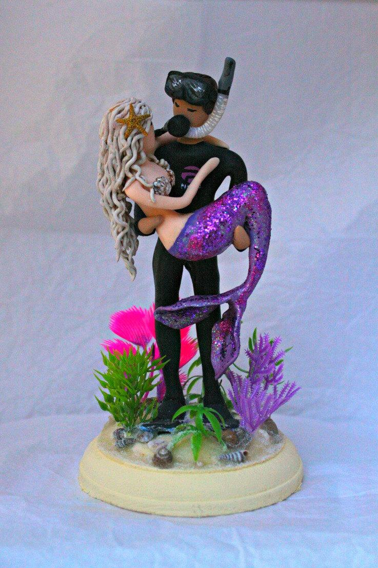 Mermaid And Scuba Diver Wedding Cake Topper Customized To Your Features