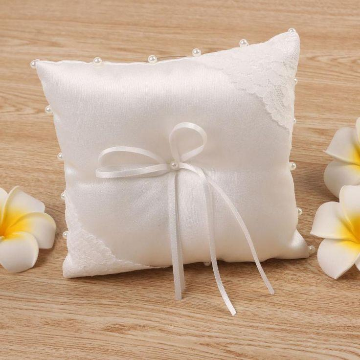 Свадьба - Small Satin Rosette Wedding Party Pocket Ring Pillow