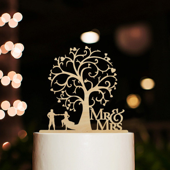 Свадьба - Rustic Wedding Cake Topper-Mr and Mrs Cake Topper-Silhouette Couple Dancing Cake Topper-Cherry Wood Tree Cake Topper-Bride and Groom Topper