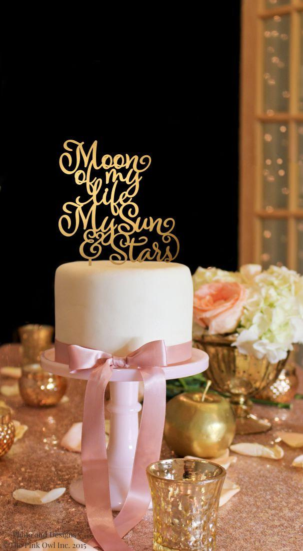 Свадьба - Moon of My Life My Sun and Stars Cake Topper - Game of Thrones Inspired Topper - Gold Cake Topper