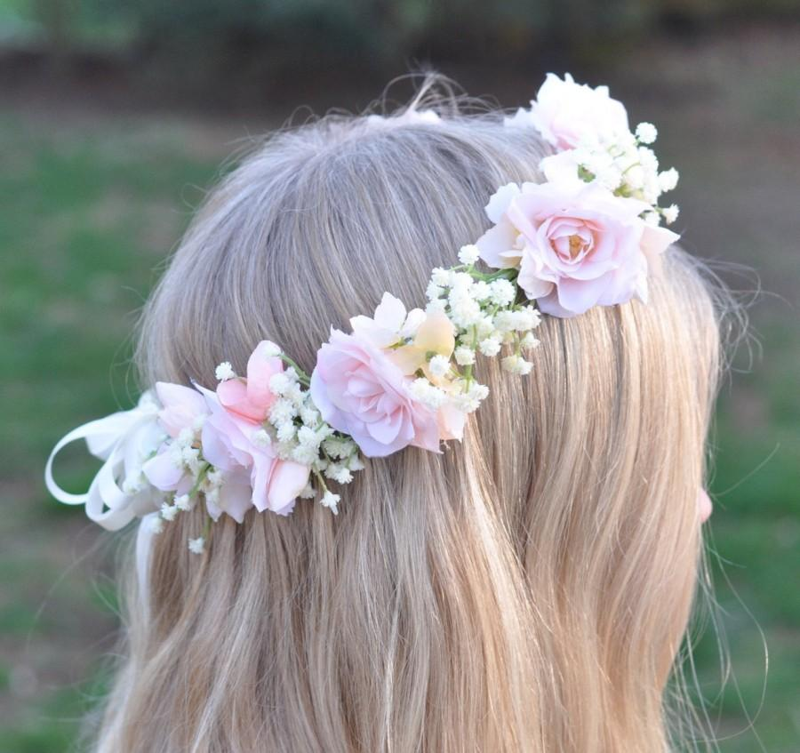 Mariage - Blush Pink Roses, Hydrangea, Ivory Babies Breath Wreath, Halo, Floral Crown for your Flower Girl, or your Bridal Headpiece.