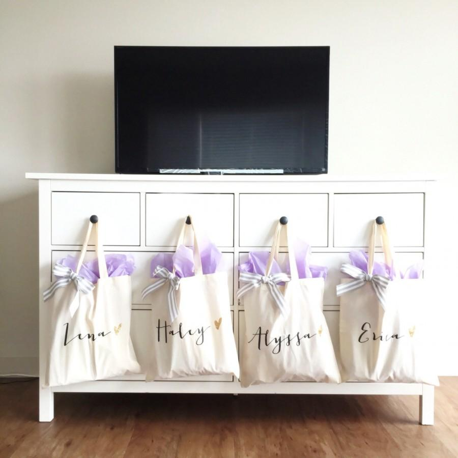 personalized bag gift for bridesmaids canvas tote striped ribbon gift for wedding bridal party. Black Bedroom Furniture Sets. Home Design Ideas