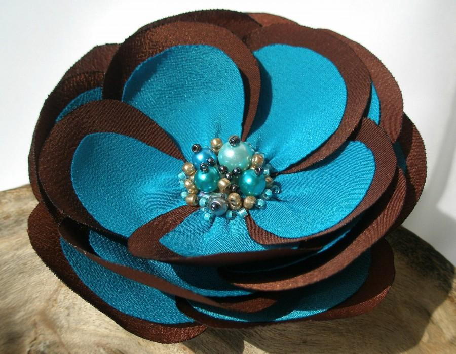 Wedding - Chocolate Brown And Turquoise Flower Hair Pin, Clip Or Brooch