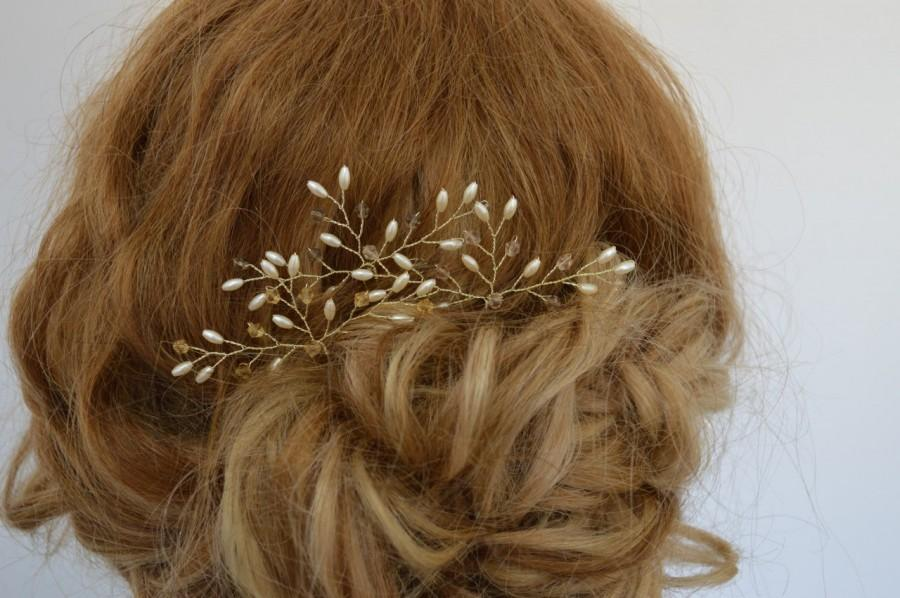 Mariage - Golden Crystal Hair Pins, Golden Wedding Hair Accessories, Graduation Hair Pins, Bridal Hair Pins, Customised Hair Pins, Set of 3