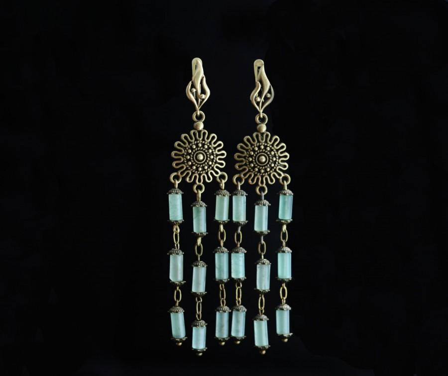Art Nouveau Earrings Aventurine Chandelier Earrings Bronze Long ...