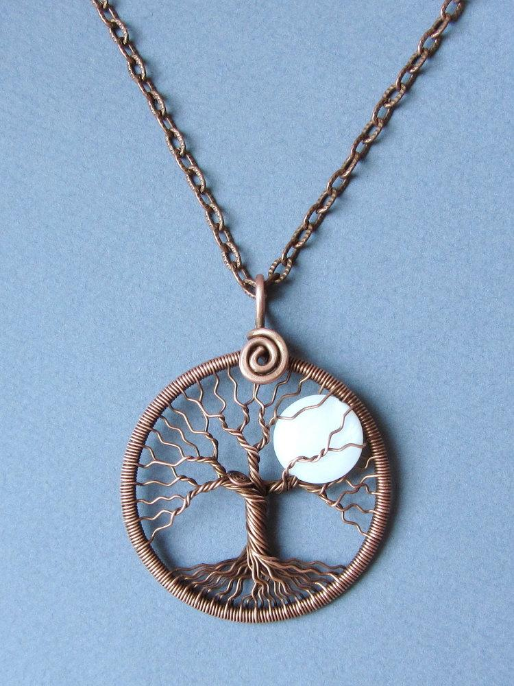 Necklace Full Moon Copper Tree Of Life Pendant White Moon Pendant