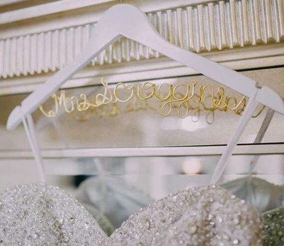 Bridal hanger one line custom bridal hanger brides for Wedding dress hanger name