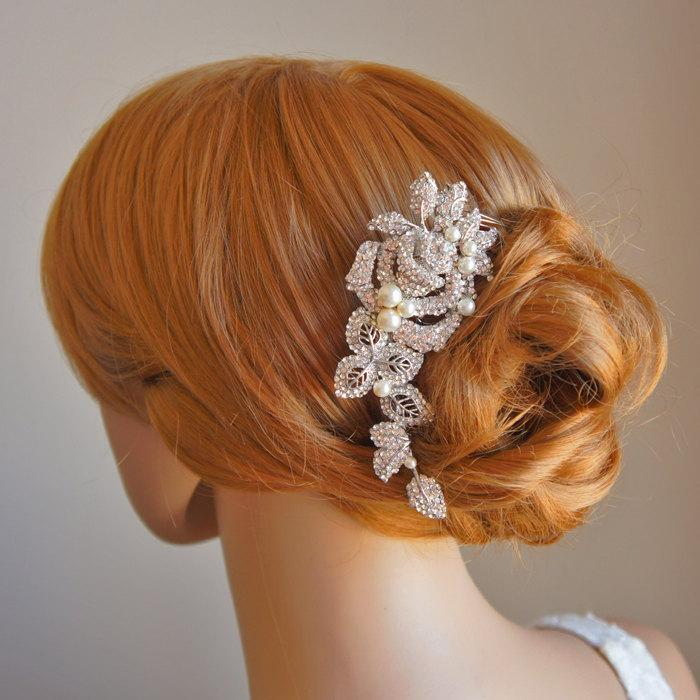 زفاف - ALCIRA, Bridal Hair Comb, White or Ivory Pearl and Rhinestone Wedding Hair Comb, Vintage Style Rose Flower and Leaf Wedding Hair Accessories