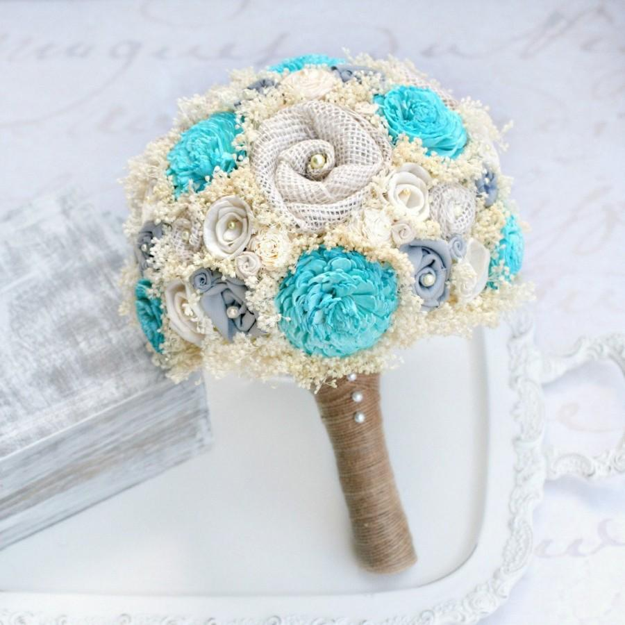 Wedding - Turquoise Bridal Bouquet // Wedding Bouquet, Blue, Grey, Gray, Sola Wood, Burlap, Dried Flower, Babys Breath, Wedding Flower Bouquet