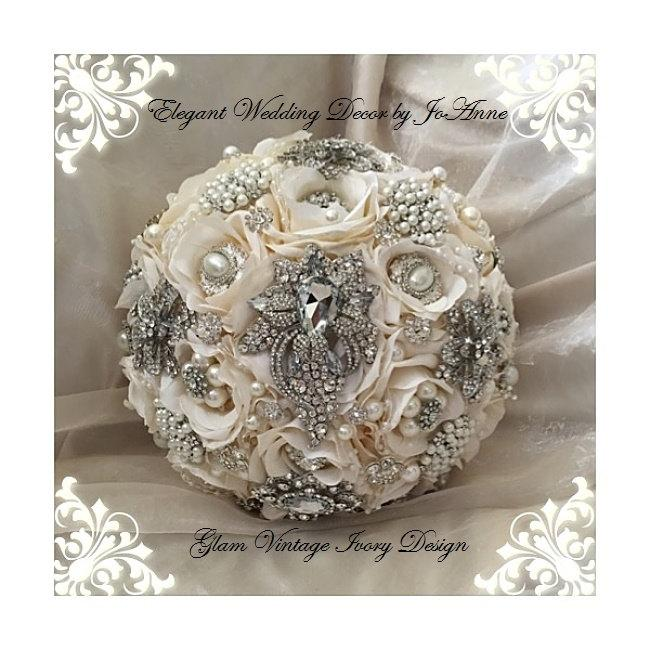 Silk Flower Brooch Bouquet DEPOSIT ONLY Ivory And Silver Bridal Vintage Broach