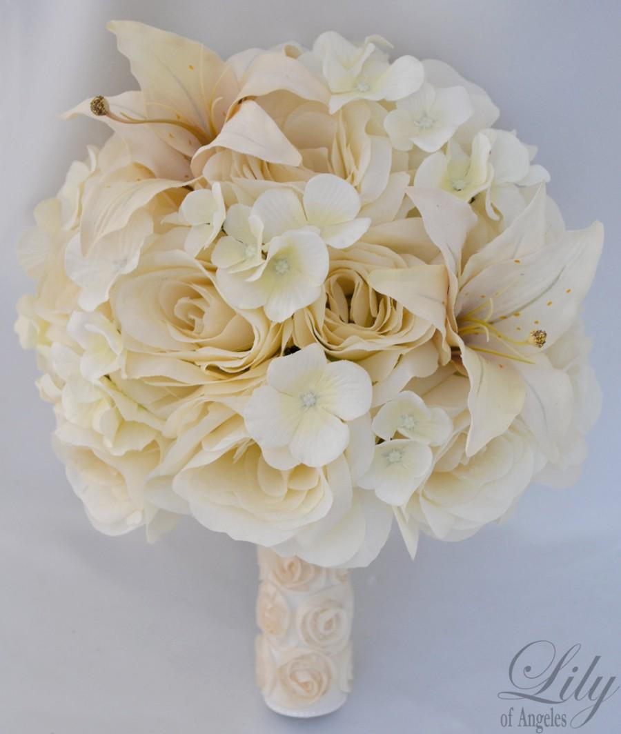 """Mariage - 17pcs Wedding Bridal Bouquet Silk Flower Decoration Package Centerpiece IVORY """"Lily of Angeles"""""""
