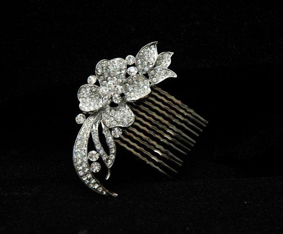 Свадьба - Flower Bridal Hair Comb, Rhinestone Comb, Wedding Comb, Crystal Hair Comb, Wedding Accessories, Bridal Headpiece
