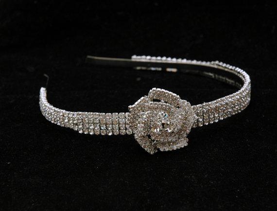 Hochzeit - Rhinestone Bridal Headband, Crystal Wedding Headband, Wedding Hair Accessories, Flower Wedding Headpiece, Bridal Headpiece