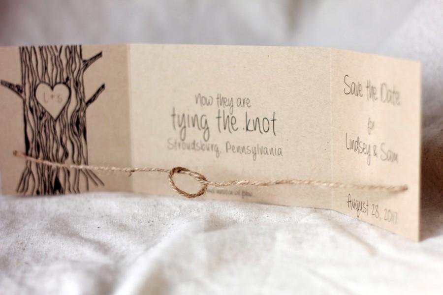 Hochzeit - Tying the Knot Save the Date, Tie the Knot Invitation, rustic, Tree with Heart, Tie the Knot Save the Date, Rustic Save the Date set of 25