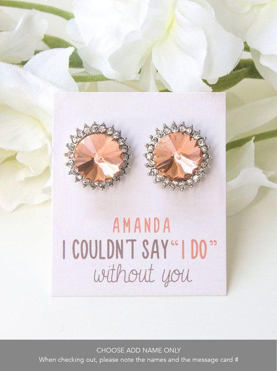 Wedding - Peach Bridesmaid Stud Earrings Personalized Bridesmaid Gift Mother Of The Bride Gift Peach Jewelry Peach Wedding Crystal Stud Earrings E305P
