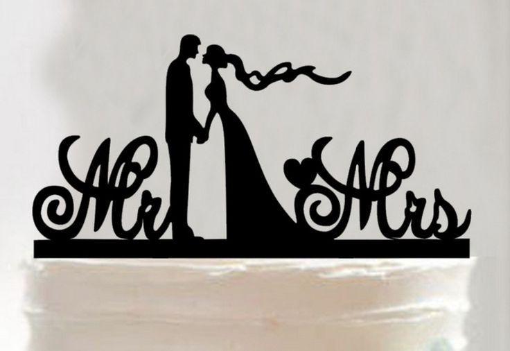 زفاف - Bride And Groom Acrylic Silhouette Wedding Cake Topper