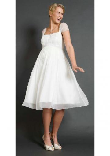 Wedding - Short Sleeves Knee Length White Chiffon Square