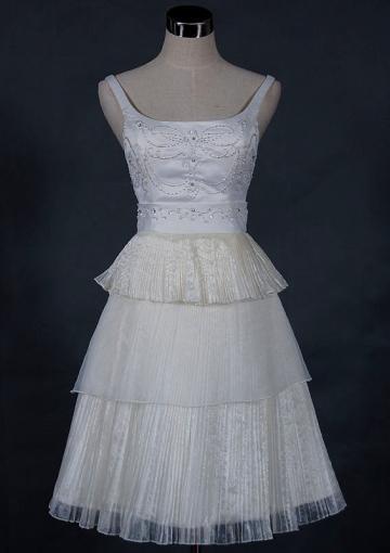 Свадьба - Sleeveless White Beading Tiers Tulle Zipper Scoop Short Length