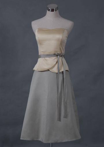 Wedding - Sleeveless Zipper Bow Sash Grey Strapless Short Length