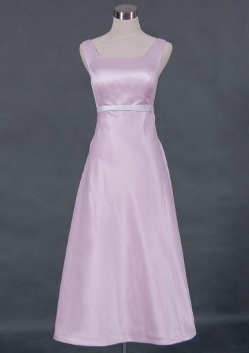 Wedding - Sleeveless Pink Satin Straps Square Ruched Zipper Tea Length