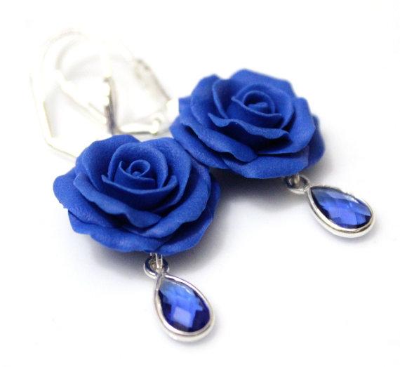 Hochzeit - Blue Rose Drop Earrings, Royal Blue flower drop earrings, Blue jewelry, Blue Rose Wedding Earrings, Blue Bridesmaid Jewelry, Bridal Flowers