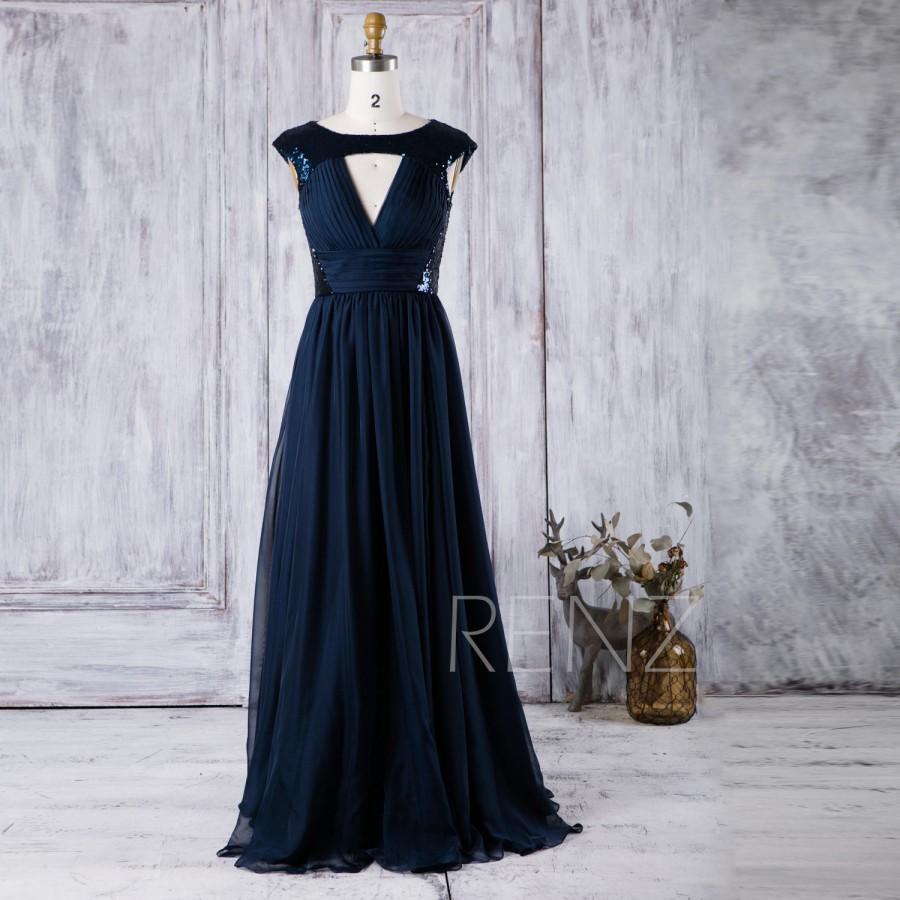 Mariage - 2016 Navy Blue Bridesmaid Dress Long, Hollow Neck Wedding Dress, Sequin Prom Dress, Long Chiffon Evening Gown Floor Length (JQ042)
