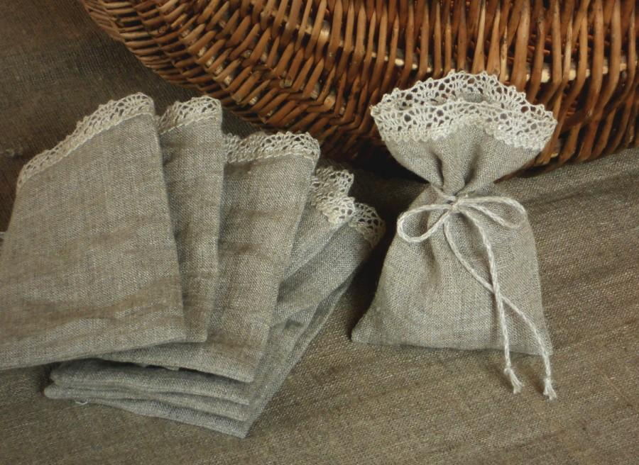 Mariage - Linen favor sachets natural gray linen burlap with lace set of 100 washed vintage style mini gift bags