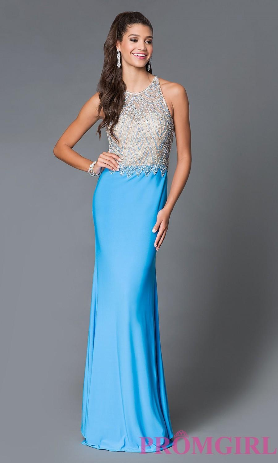 Turquoise Beaded Illusion Bodice Prom Dress - Discount Evening ...
