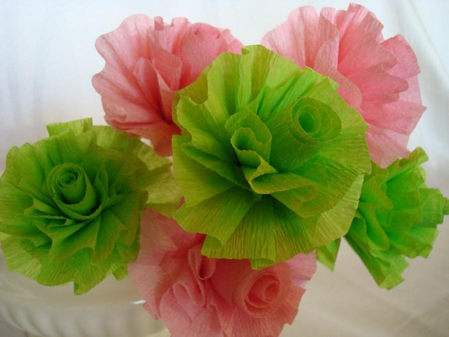 Mariage - Seven Wedding Crepe Paper Roses...Apple Lime Green and Pink...ART DECO STYLIZED FLOWERS