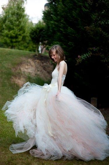 Wedding - Adult Long Tutu Skirt, Adult Tutu Dress, Ivory With A Hint Of Peach Adult Tulle Skirt, Bridal Wedding Dress, Sewn Tutus