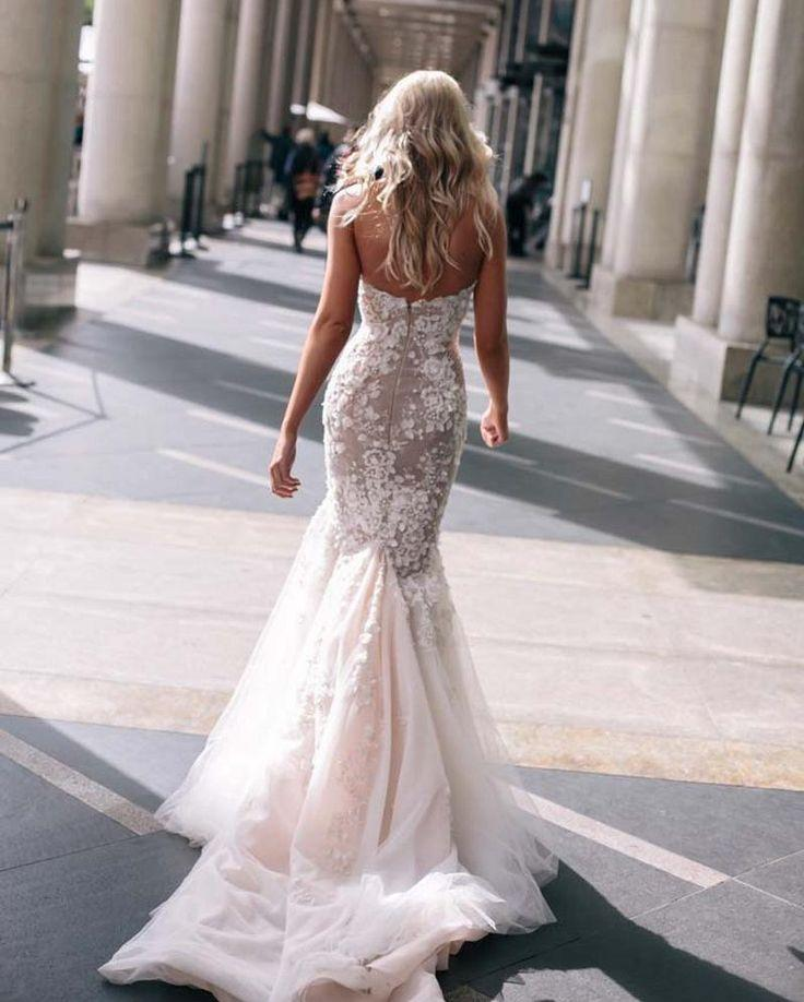 Steven Khalil Mermaid Wedding Dresses Blush Pink Sweetheart Pearls ...