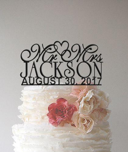Hochzeit - Personalized Custom  Mr & Mrs Wedding Cake Topper with YOUR Last Name and date