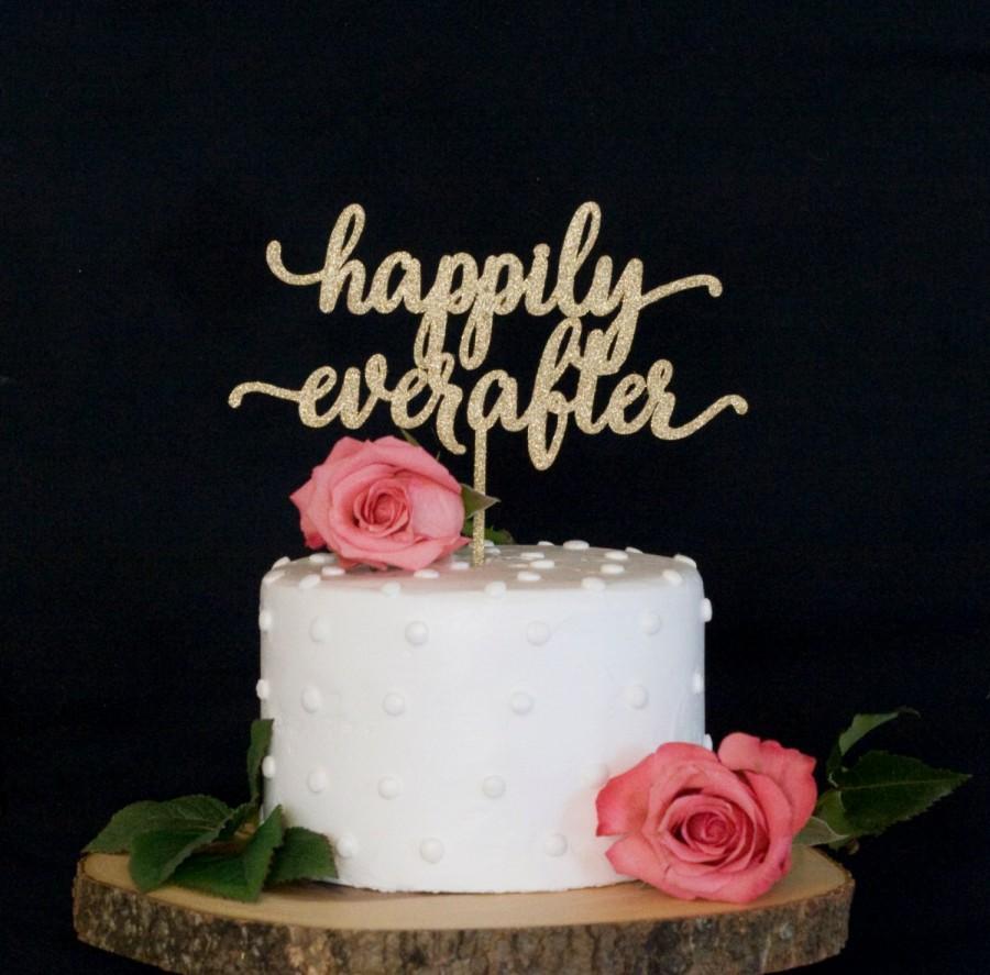 زفاف - Happily Ever After Calligraphy Wedding Cake Topper