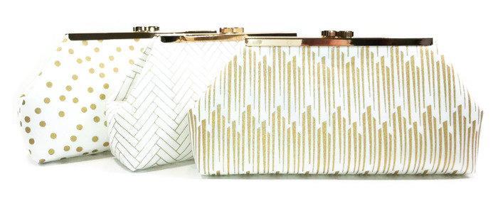 Wedding - Bridesmaid Clutch, Bridal Clutch, Wedding Clutch - Metallic Gold Navy White Clasp Clutch Purse You Design